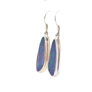 A BRILLIANT GALAXY STERLING SILVER GENUINE AUSTRALIAN OPAL DROP EARRINGS