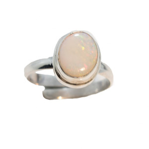 WHITE CANDY LAND STERLING SILVER NATURAL SOLID WHITE OPAL ADJUSTABLE RING