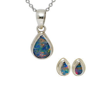 RAINBOW FLASH DROP STERLING SILVER GENUINE AUSTRALIAN OPAL JEWELRY SET