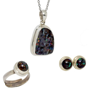 DESTINY ESCAPE STERLING SILVER GENUINE AUSTRALIAN OPAL JEWELRY SET