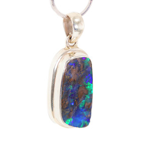 MAGIC FOREST FLASH SOLID AUSTRALIAN BOULDER OPAL NECKLACE