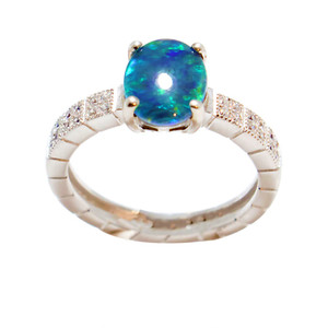 ABUNDANT CLARITY  STERLING SILVER AUSTRALIAN BLACK OPAL RING (2)