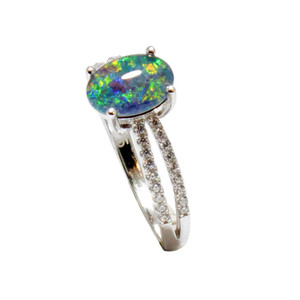 BRILLIANT LAGOON STERLING SILVER AUSTRALIAN BLACK OPAL RING