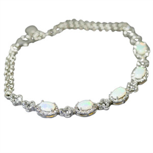 BRILLIANT DESTINY  STERLING SILVER AUSTRALIAN 5 WHITE OPAL GEMSTONE ADJUSTABLE BRACELET