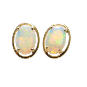 SUNSET SURPRISE 14KT GOLD NATURAL AUSTRALIAN WHITE OPAL STUD EARRINGS