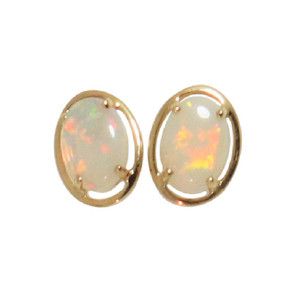 ENCHANTED WONDERLAND 14KT GOLD NATURAL AUSTRALIAN WHITE OPAL STUD EARRINGS