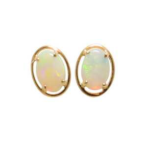 FLASH GARDEN 14KT GOLD NATURAL AUSTRALIAN WHITE OPAL STUD EARRINGS