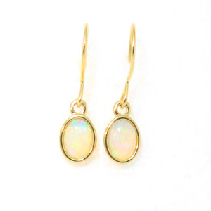 DELICATE EMBRACE 18KT GOLD PLATED NATURAL AUSTRALIAN WHITE OPAL DROP EARRINGS