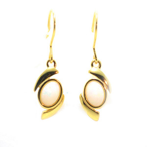 ROMANTIC LOVE 18KT GOLD PLATED NATURAL AUSTRALIAN WHITE OPAL DROP EARRINGS