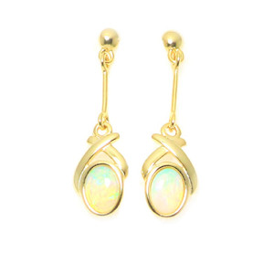 GREATFUL ABUNDANCE 18KT GOLD PLATED NATURAL AUSTRALIAN WHITE OPAL DROP EARRINGS