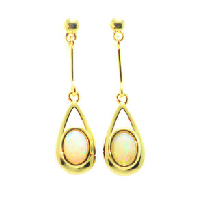 INSPIRED HEART 18KT GOLD PLATED NATURAL AUSTRALIAN WHITE OPAL DROP EARRINGS