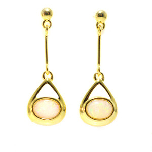 GREATFUL GEM 18KT GOLD PLATED NATURAL AUSTRALIAN WHITE OPAL DROP EARRINGS