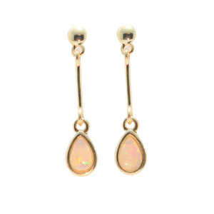 FOUND LOVE 18KT GOLD PLATED NATURAL AUSTRALIAN WHITE OPAL DROP EARRINGS