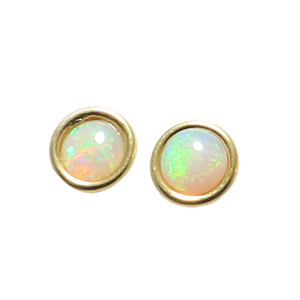 GLORIOUS PASSION 18KT GOLD PLATED NATURAL AUSTRALIAN WHITE OPAL STUD EARRINGS