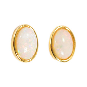 CANDY LAND FLASH 18KT GOLD PLATED NATURAL AUSTRALIAN WHITE OPAL STUD EARRINGS