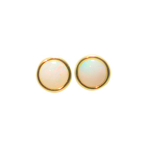 1 BRIGHT GEM 14KT GOLD AUSTRALIAN OPAL STUD EARRINGS