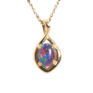 BRIGHT DYNASTY 18KT GOLD PLATED AUSTRALIAN OPAL NECKLACE