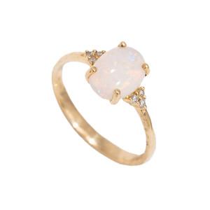 DESTINY'S MAGESTY 14KT GOLD  & DIAMOND NATURAL AUSTRALIAN WHITE OPAL RING