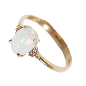 1 MAGESTIC BRILLIANCE 14KT GOLD  & DIAMOND NATURAL AUSTRALIAN WHITE OPAL RING