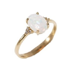 MAGESTIC BRILLIANCE 14KT GOLD  & DIAMOND NATURAL AUSTRALIAN WHITE OPAL RING