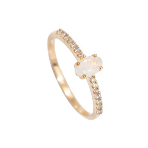 OPAL FANTASY 14kt GOLD AND DIAMOND NATURAL AUSTRALIAN WHITE OPAL RING