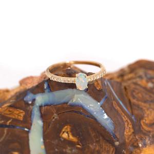 DELICATE ELEGANCE 14KT GOLD AND DIAMOND NATURAL AUSTRALIAN WHITE OPAL RING