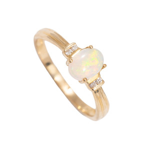 RAINBOW CASTLE 14KT GOLD  & DIAMOND NATURAL AUSTRALIAN WHITE OPAL RING