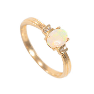 DESTINY REVEALED 14KT GOLD  & DIAMOND NATURAL AUSTRALIAN WHITE OPAL RING