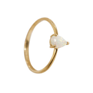 CAPTIVATING DROP 14KT GOLD NATURAL AUSTRALIAN WHITE OPAL RING