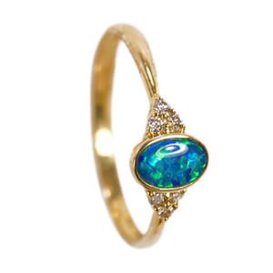 OPAL FANTASY 14KT GOLD & DIAMOND NATURAL AUSTRALIAN OPAL RING
