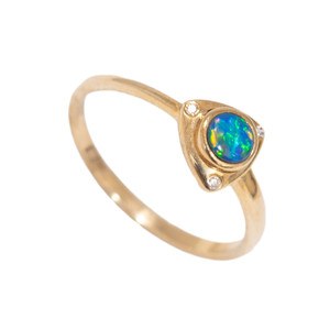 EMBRACED PASSION 14KT GOLD & DIAMOND NATURAL AUSTRALIAN OPAL RING