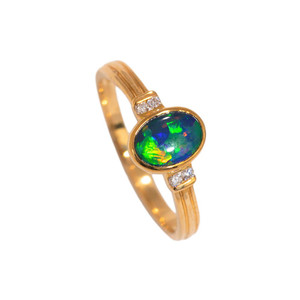 RAINBOW CANDY 14KT GOLD & DIAMOND NATURAL AUSTRALIAN OPAL RING