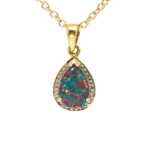 A BRIGHT PASSION 14KT GOLD & DIAMOND AUSTRALIAN BLACK OPAL NECKLACE