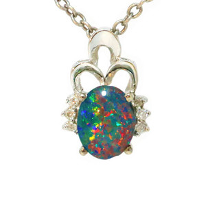 A MOTHERS PASSION 14KT WHITE GOLD & DIAMOND AUSTRALIAN BLACK OPAL NECKLACE