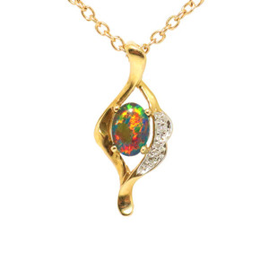 AN ENCHANTED GALAXY14KT GOLD NATURAL SOLID AUSTRALIAN OPAL NECKLACE