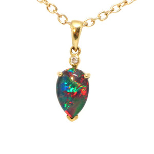 BRIGHT DESTINY 14KT GOLD & DIAMOND AUSTRALIAN BLACK OPAL NECKLACE