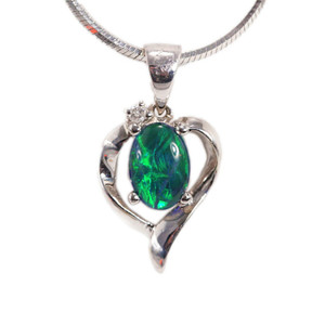 ETERNAL LOVE 14KT WHITE GOLD & DIAMOND AUSTRALIAN BLACK OPAL NECKLACE
