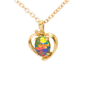 A FIRE FLASH 14KT GOLD AUSTRALIAN BLACK OPAL NECKLACE