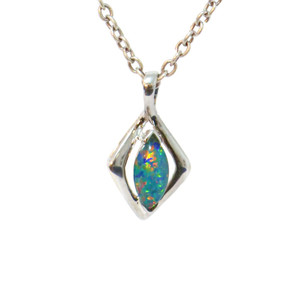 DYNASTY FLASH 14KT WHITE GOLD AUSTRALIAN BLACK OPAL NECKLACE