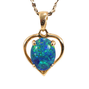 ETERNAL OCEAN 14KT GOLD AUSTRALIAN BLACK OPAL NECKLACE