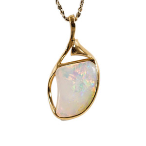 FREEDOM'S ABUNDANCE 18KT GOLD NATURAL SOLID AUSTRALIAN WHITE CRYSTAL OPAL NECKLACE