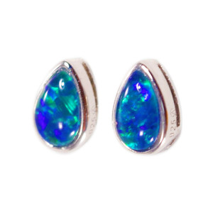 BLISSFUL PASSION STERLING SILVER GENUINE AUSTRALIAN OPAL STUD EARRINGS