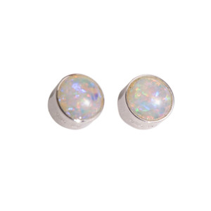 CAROLINE WORLD POWDER FLASH STERLING SILVER NATURAL AUSTRALIAN WHITE OPAL STUD EARRINGS