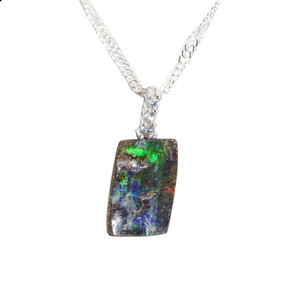 ELECTRIC GREEN GALAXY STERLING SILVER NATURAL AUSTRALIAN SOLID BOULDER OPAL NECKLACE