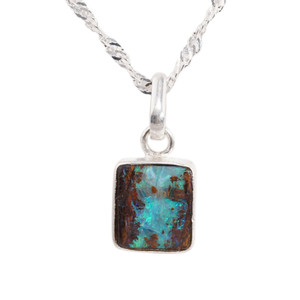 TROPICAL HOLIDAY STERLING SILVER NATURAL AUSTRALIAN SOLID BOULDER OPAL NECKLACE