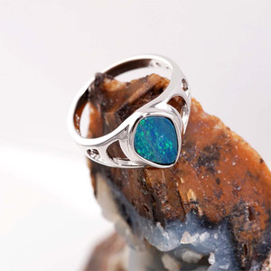 ELECTRIC GARDEN STERLING SILVER AUSTRALIAN BLACK OPAL RING