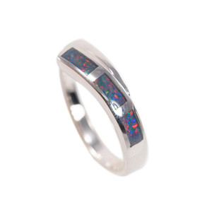 PASSIONATE HEART DANCE STERLING SILVER AUSTRALIAN BLACK OPAL RING