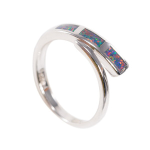 ELECTRIC SUNRISE STERLING SILVER AUSTRALIAN BLACK OPAL RING