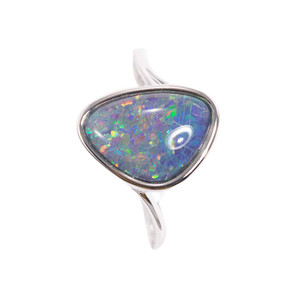 GARDEN SKY SPLASH STERLING SILVER AUSTRALIAN BLACK OPAL RING