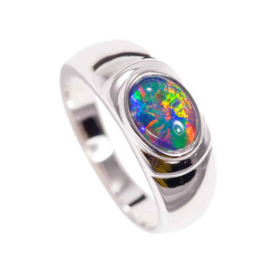 1 ELECTRIC FIRE OPAL STERLING SILVER AUSTRALIAN BLACK OPAL RING